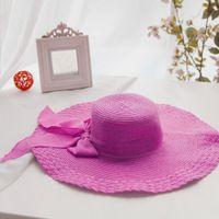 Wholesale Fashion Ladies Wide Brim Summer Beach Straw Hats Cap Packable Casual Floppy Woman Hats