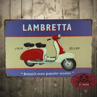 antique scooter - Vintage Style Retro Metal Sign Lambretta scooter moped gift