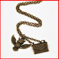 acceptance letter - 2016 new Brozne Harry potter owl acceptance letter admission notice envelope locket necklace for me women movie jewelry