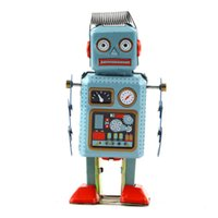 Wholesale Robot Toy Wind Up Walking Radar Robot Tin Toy Retro Vintage Gift Mechanical Clockwork best gift for kids