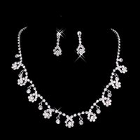 V-Neck india - Cheap Silver Bridal Prom Party Dress s Jewelry Sets Arabic India Sparkly Rhinestone Crystals Necklaces Ear Clip Chandelier Earrings For Sale