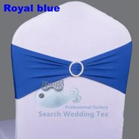 Wholesale Royal Blue Color Lycra Spandex Chair Band With Buckle Used On Wedding Spandex Chair Cover
