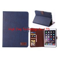 Wholesale Crazy Horse Ipad Mini - Retro Crazy horse PU leather flip cover case for ipad mini 2 3 wallet stand case with credit card slots