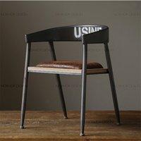 Wholesale The village of retro furniture Vintage metal bar chair anti rust treatment Bar furniture set wood bar chair Armrest dining chair