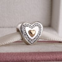 Wholesale New fit Pandora Bracelets Charm ALE Sterling Silver K Real Gold Heart Charm Bead Clear Cz for women fashion jewelry perlos micanga