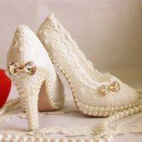 Wedding lace bow - Elegant Crystal Wedding Shoes Ivory Rhinestone Bridal Shoes Handmade New Custom Made Bride Wedding Shoes Lace White Bow Women High Heel
