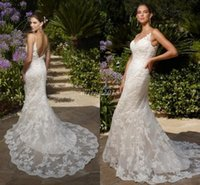 Cheap 2015 Grecian Style Wedding Dresses Spaghetti Straps Lace Sheath Trumpet Sweep Train Lace Wedding Dress Gowns