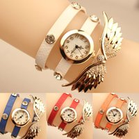 best wing design - Vine Auger Angel Wings Rivet Bracelet Watches Bohemian Designs Best Sell Wristwatches for Women Lady Leather Band Wrap Watches Cheap