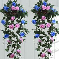 Wholesale New Elegant Artificial Satin Flower Wisteria Vine Rattan For Wedding Centerpieces Decorations Bouquet Garland Home Ornament Flower Runners