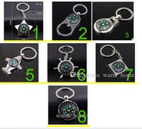 Wholesale 7 style Alloy Nautical helm compass keychain Fashion Key Chains Charms Keychains