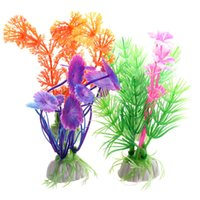 Wholesale Fine Plastic Aquarium Plants Fish Tank Grass Flower Ornament Decor Landscape Color
