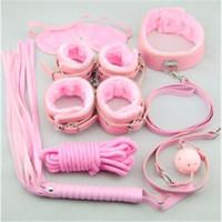 bondage kit - 8 in Pink Plush BDSM Bondage Kits Sets Adult Sex Toys for Couple Sexual Bondage Restraint Kits Valentines Gifts BJ2303