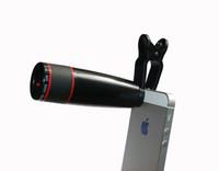 al por mayor 12x zoom móvil-Universal Clip 12X zoom lente óptica lente del clip del telescopio del teléfono móvil para el iPhone Samsung HTC teléfonos inteligentes