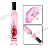 patio umbrella - Hot sale Portable Folding Umbrella Retractable Brolly patio umbrellas Wine bottle Style Tube Pink