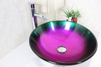 Wholesale Multicolor Round Basin Tempered Glass Vessel Sink With Emperor Faucet Set N