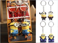 Wholesale 5 cm Minions KeyChain lovers sets Despicable Me Action Figure KeyChains Minion Key Chain rings movie toys Keyrings cartoon Promotion Gifts