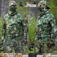 Wholesale Hunting Camo Base Long Sleeves Layers Shirt Cmaping Hiking Ourdoor Sports T Shirt Tactical Combat Military Camouflage T Shirt