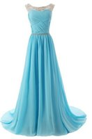 Wholesale Beaded Chiffon Long Prom Prom Dresses Crystal Cap Sleeve Summer Beach Beads Sash Formal Party Gowns CPS104