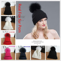 Wholesale Adult Lady Genuine New Brand Fashion Cable Striped Warm Crochet Knitted Natural Real Fox Fur Pompom Winter Hat For Women