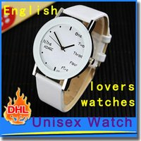 Wholesale Fashion men s watch English Brief Watch New Korean Style Wrist Watch for Boys and Girls Leather strap watch band lovers watches