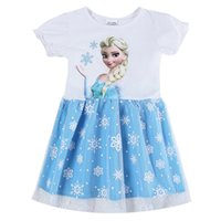 Wholesale H5708 Childrens clothing girls dresses cartoon frozen dress elsa summer dresses for girls short sleeve lace dress white party dress
