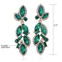 Wholesale Emerald Green Fashion Elegant Top Quality Crystal Earrings Handmade N092