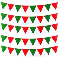 Wholesale Selling Fawn Flag Xmas Adornment Boots A pennant Christmas flag Red and green color Party Christmas Decorations
