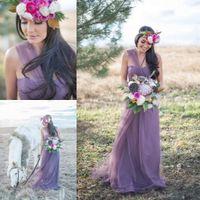 A-Line lavender bridesmaid dresses - 2015 Illusion Lavender Bridesmaid Dresses A Line One Shoulder Convertible Bridesmaid Dresses Tulle Long Maid of Honor Dresses Custom Made