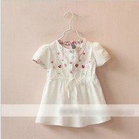Cheap 2016 Wholesale Clothing Kids Summer Cotton Fashion Dress Girls Best Sale Korean Style Pretty Fruit Embroidered Casual Dress Childrens Dress