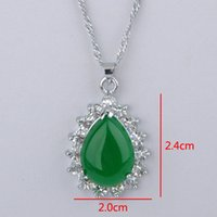Wholesale Hot Sell Tibet Silver Green Jade Malay jade pendant Necklace Women Girl Pendants Silver necklaces Bridal Jewelry for wedding dress