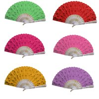 Wholesale Stylish New Chinese Style Embroidered Fabric Peacock quot s Tail Folding Hand Held Fan Sequins Party suppiler Fan Fragrant