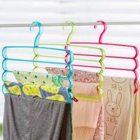 bathroom hangers towels - 1 Multifunction Layers Trousers Tie Towel Rack Plastic Duty Clothes Pants Silk Scarf Hanger Hook Saving Space Organize