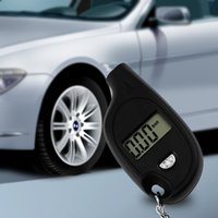 Wholesale pc Mini Keychain LCD Digital Car Tire Tyre Air Pressure Gauge Auto Motorcycle Test Tool with cell lithium battery