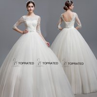 half full - 2015 New Ball Gown Wedding Dresses Bridal Gown With Real Image Sheer Neckline Half Illusion Sleeve Ivory Corset Tulle Full Length SQS01