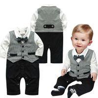 Wholesale 2015 Autumn Baby Stripe Gentleman Bow Tie Jumpsuit Kids Clothing Baby One Piece Clothes Cotton Romper Boy Baby Jumpsuits A14372