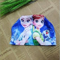Wholesale 50pcs Frozen Swimming Hat Elsa Anna Elasticity Cap Swimming Hats Kids Cartoon Cotton Swimming Hat Children s Bath Caps Swimming Hat BFH970