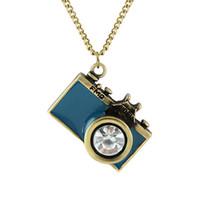 Wholesale Vintage Jewelry Fashion Hot Sale Black Blue Color Lovely Blue Black Enamel Camera Pendants Necklaces