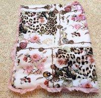 Cheap Party A Quilt 78*70CM Cotton Kids Leopard Thinly Lace Brim Infant Boys Girls Summer Quilt Soft 2 Colors N1345