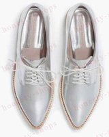 american heels - European American fashion brand pure color lace up derby shoes pointed silver bright patent leather flat heels woman Oxford