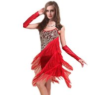 stage costumes - 2016 Fashion Women Latin Dress Dresses Latin Dance Costume Stage Wear Woman Dance Wear Dancewear Sequin Fringe Tassel