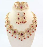 al por mayor pendientes de turquesa juego de anillos-African Jewelry Sets 18k cristal plateado del oro del anillo de la pulsera de la turquesa de los pendientes del collar negro y rojo Elija Collares