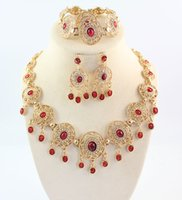Wholesale African Jewelry Sets k Gold Plated Crystal Turquoise Necklace Bracelet Ring Earrings Black And Red Choose Jewelry Necklaces