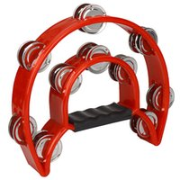 Wholesale Super sell Hand Held Tambourine Double Row Metal Jingles Percussion Red