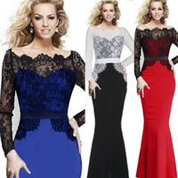 Wholesale 2014 Women Elegant Vintage Pinup Lace Patchwork Tunic Formal Prom Evening Party Mermaid Maxi Long Dress Q152