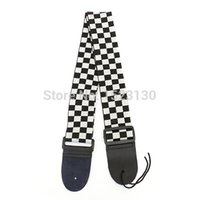 Wholesale Black White Guitar Strap Acoustic Bass Electric Checkered Nylon PU Leather Ends beautiful design