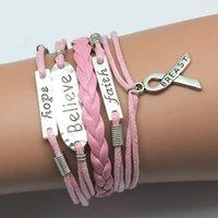 faith bracelet - 12pcs Believe Hope Faith Pink Wax Cord Leather Multi layer Bracelet Infinity Bracelet Antique Silver Alloy Charm Bracelet DH TGBT20150146