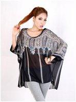 Cheap Cheaper!!!3PCS LOT Fashion Sexy Women Oversized Batwing Dolman Sleeve Chiffon Shirt Bohemian Tops Blouse Black L XL SV000782 A04