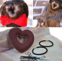 Wholesale Love Heart shaped Hair Curlers Plate Hairpin Curlers Elastic Sponge Love Three piece Hot style Hair Curlers JF023