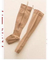 Wholesale 2 Sizes Varicose Zip Sox Zip Up Zippered Compression Knee Supports Stockings Leg Open Toe Black Beige