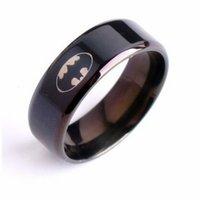 Wholesale 2016 Hot Sale New Fashion Unisex Men Women Punk Stainless Steel Batman Ring Fashion Jewelry Party Accessories